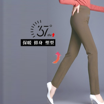 2F韓衣-升級版發熱彈力顯瘦長褲-卡其(M-2XL)-秒