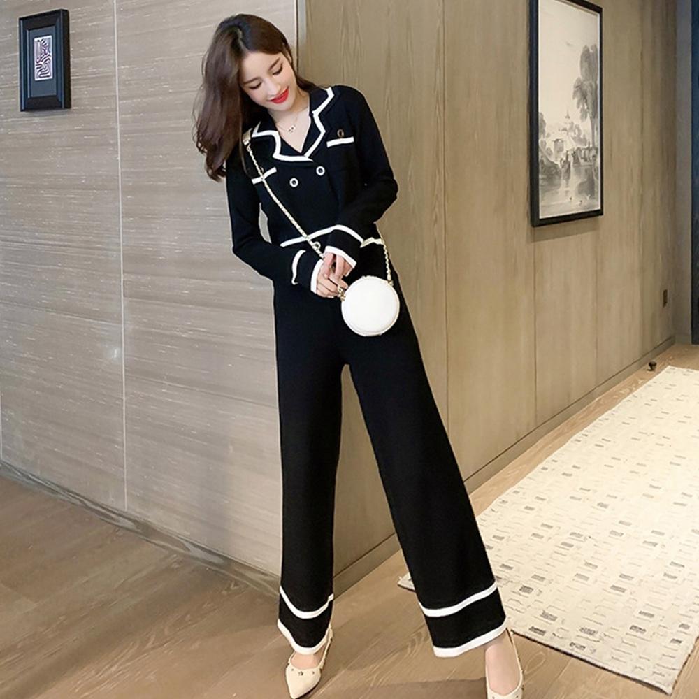 【KISSDIAMOND】小香風簡約時尚上衣+長褲套裝(時尚/潮流/KDA-1850)