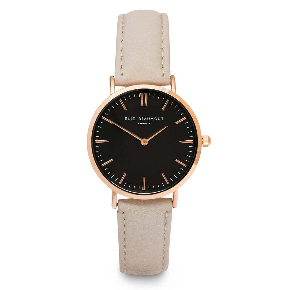 Elie Beaumont 英國時尚手錶 牛津系列 黑錶盤x褐皮革錶帶x玫瑰金錶框38mm
