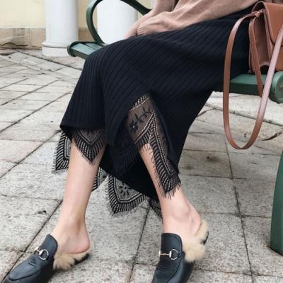 La Belleza鬆緊腰兩面穿全蕾絲拼接下擺開叉針織裙包臀中長裙
