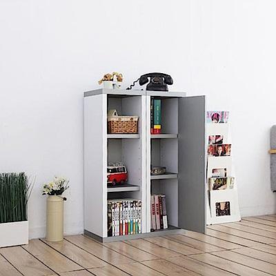 一加一組合日系雙色六格附門厚板收納書櫃(90x30x33cm)