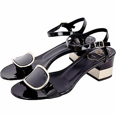 Roger Vivier Chips West 金屬鑲邊漆皮繫帶涼鞋(黑色)