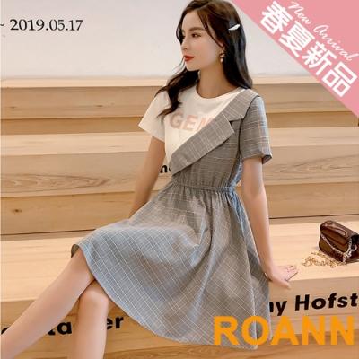 OL風假兩件拼接格紋短袖洋裝 (灰色)-ROANN