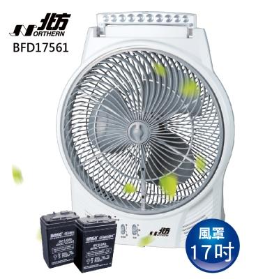 [時時樂限定]北方 17吋 風罩充電式LED照明燈DC直流箱扇 BFD17561