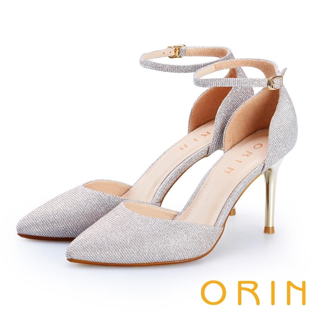 ORIN 蔥布繫踝繞帶尖頭高跟鞋 銀色