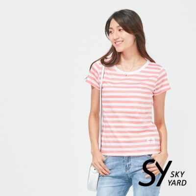 【SKY YARD 天空花園】純棉條紋圓領貼標上衣-紅條