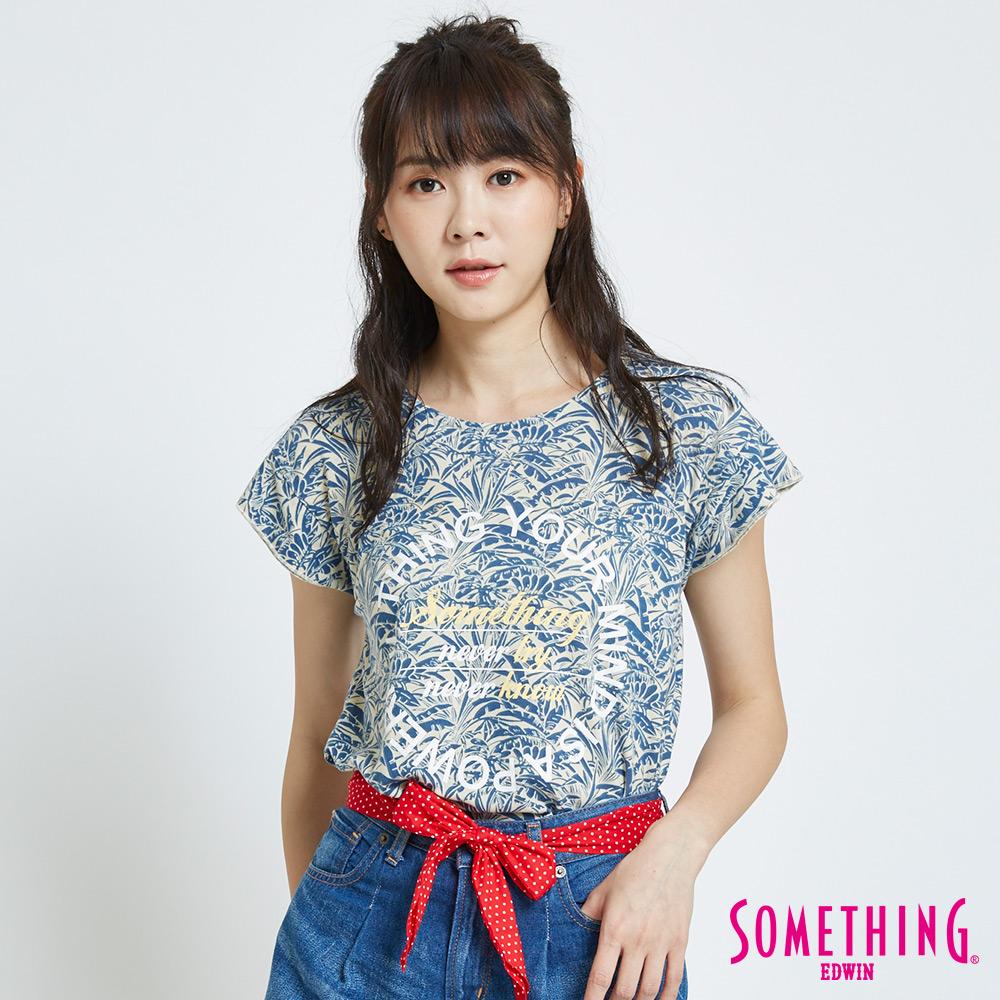 SOMETHING 葉片花卉短袖T恤-女-藍色