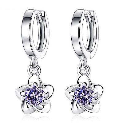 梨花HaNA S925銀落櫻點鑽圈飾耳環紫鑽