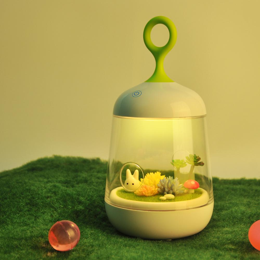 半島良品 超療癒微景觀植物小夜燈-兔子