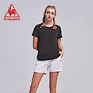 le coq sportif 法國公雞牌運動網布剪接短袖T恤 女-黑