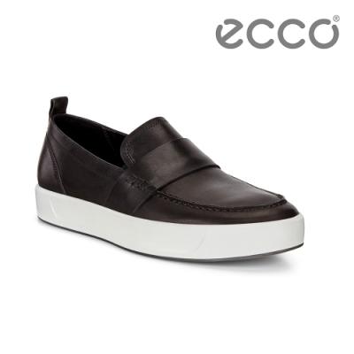 ECCO SOFT 8 M 簡約套入式休閒鞋 男-黑