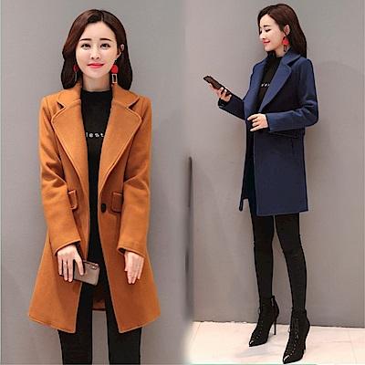 DABI韓國風時尚呢子大衣長版單品外套