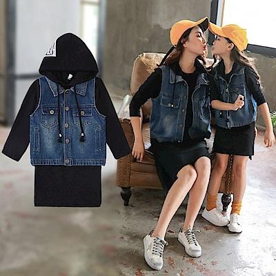小衣衫童裝 親子款黑色連帽長袖T裙+牛仔背心套裝(兒童款)1070821