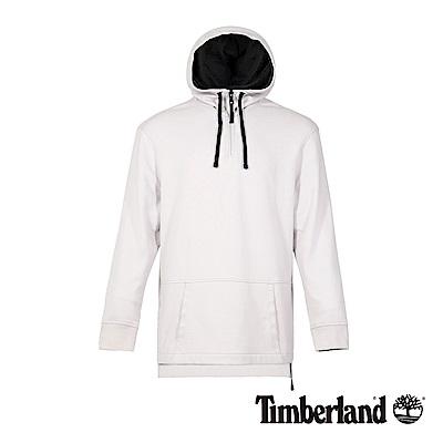 Timberland 男款淺灰色LOGO連帽長袖套頭休閒上衣|A1NKU