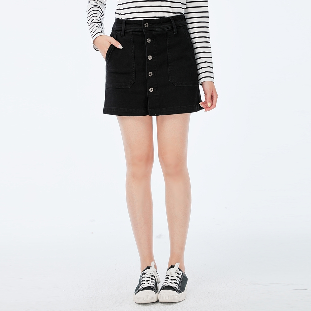 Victoria 插袋排釦A字褲裙-女-黑