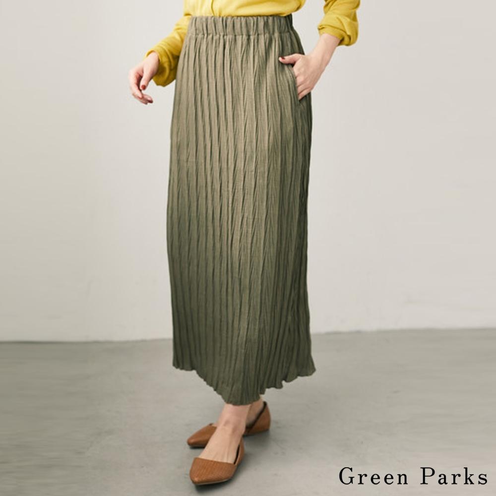 Green Parks 素面微透皺褶長裙