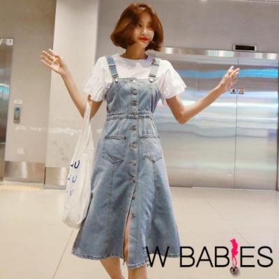 正韓 休閒風排釦收腰牛仔吊帶裙 (淺藍色)-W BABIES