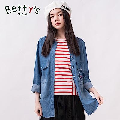 betty's貝蒂思 口袋繡線牛仔襯衫(深藍)