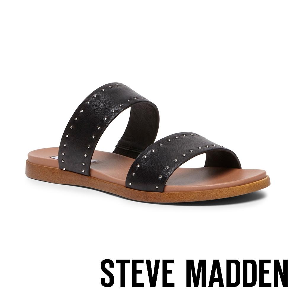 STEVE MADDEN-DUAL-S 率性時尚 綿羊皮圓鉚釘鑲邊涼拖鞋-黑色