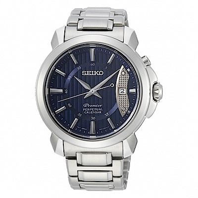 SEIKO 精工Premier萬年曆紳士腕錶-藍SNQ157J1/6A32-00Z0