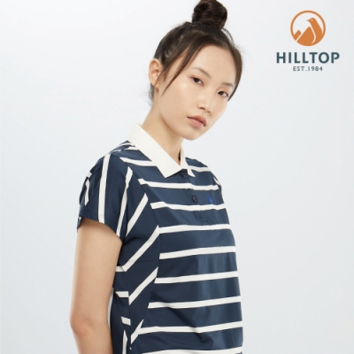 【hilltop山頂鳥】女款吸濕快乾抗菌彈性POLO衫PS14XFG7ECEW高貴藍配條