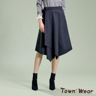 【TOWNWEAR棠葳】毛呢純色綁帶不對稱長裙