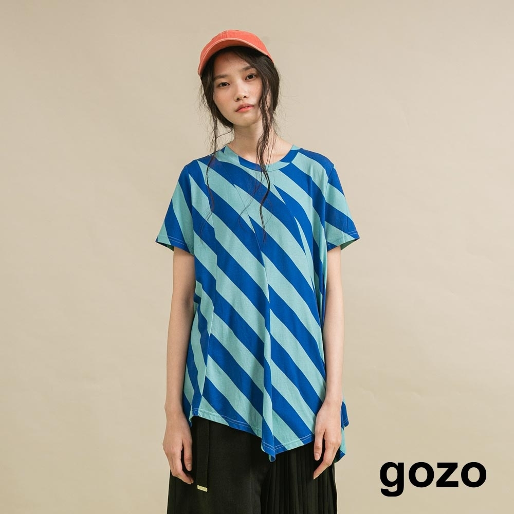 gozo 斜條紋剪接上衣(二色) product image 1