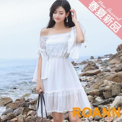 一字領拼接花邊蕾絲雪紡洋裝 (白色)-ROANN