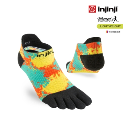 【INJINJI】RUN女輕量吸排五趾隱形襪 [數碼印花]