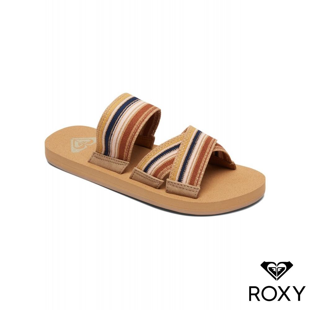 【ROXY】SHORESIDE 夾叉繫帶拖鞋 彩色
