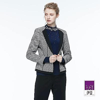 ILEY伊蕾 時尚都會格紋短版外套(黑)