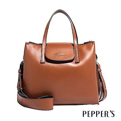 PEPPER`S Norah 牛皮方塊手提包 - 焦糖棕