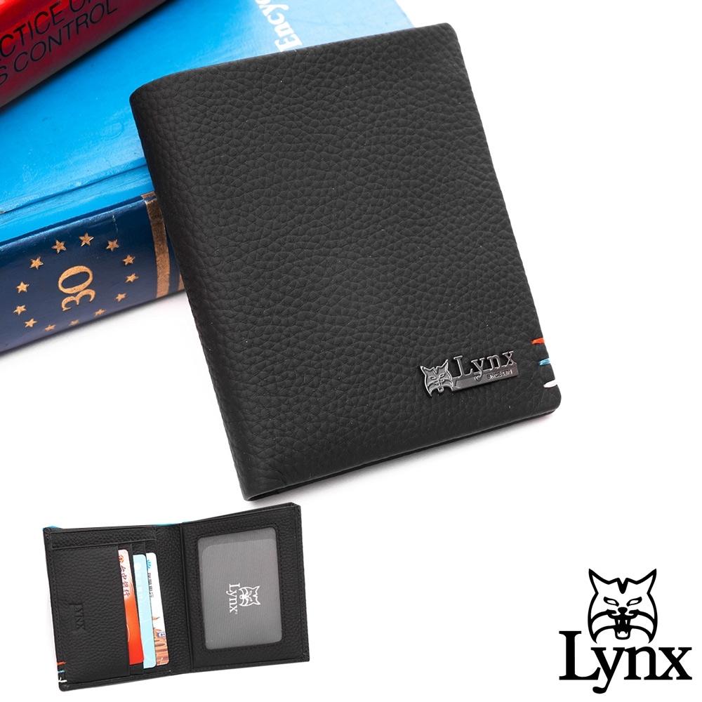 Lynx - 美國山貓進口牛皮荔枝紋3+6卡直式短夾