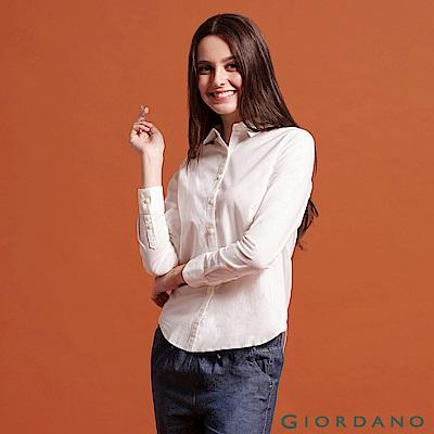 GIORDANO 女裝牛津紡彈力長袖襯衫-32 雪白