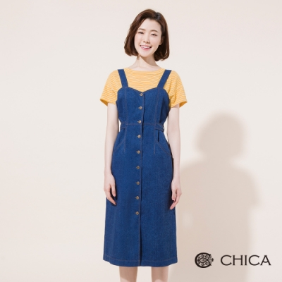 CHICA 清新百搭後綁帶牛仔背心洋裝(1色)