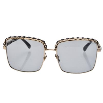CHANEL 經典皮革穿繞方框太陽眼鏡(灰)