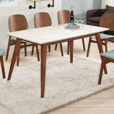 Boden-溫克5尺胡桃色石面餐桌-150x85x77cm