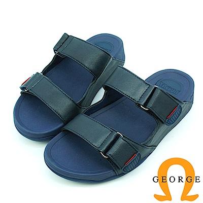 【GEORGE 喬治皮鞋】休憩系列 真皮平行涼鞋拖鞋-藍底
