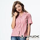 【德國 VAUDE】女款吸溼排汗短袖直條紋襯衫VA-06049紅灰條/零碼出清