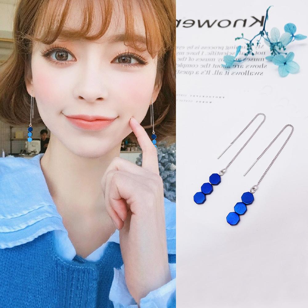 梨花HaNA 韓國925銀針六角藍晶耳線耳環