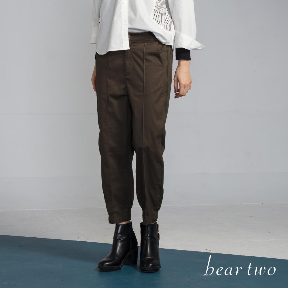 bear two-率性前壓線縮口長褲-綠