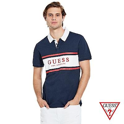 GUESS-男裝-撞色LOGO文字Polo衫-藍 原價1690