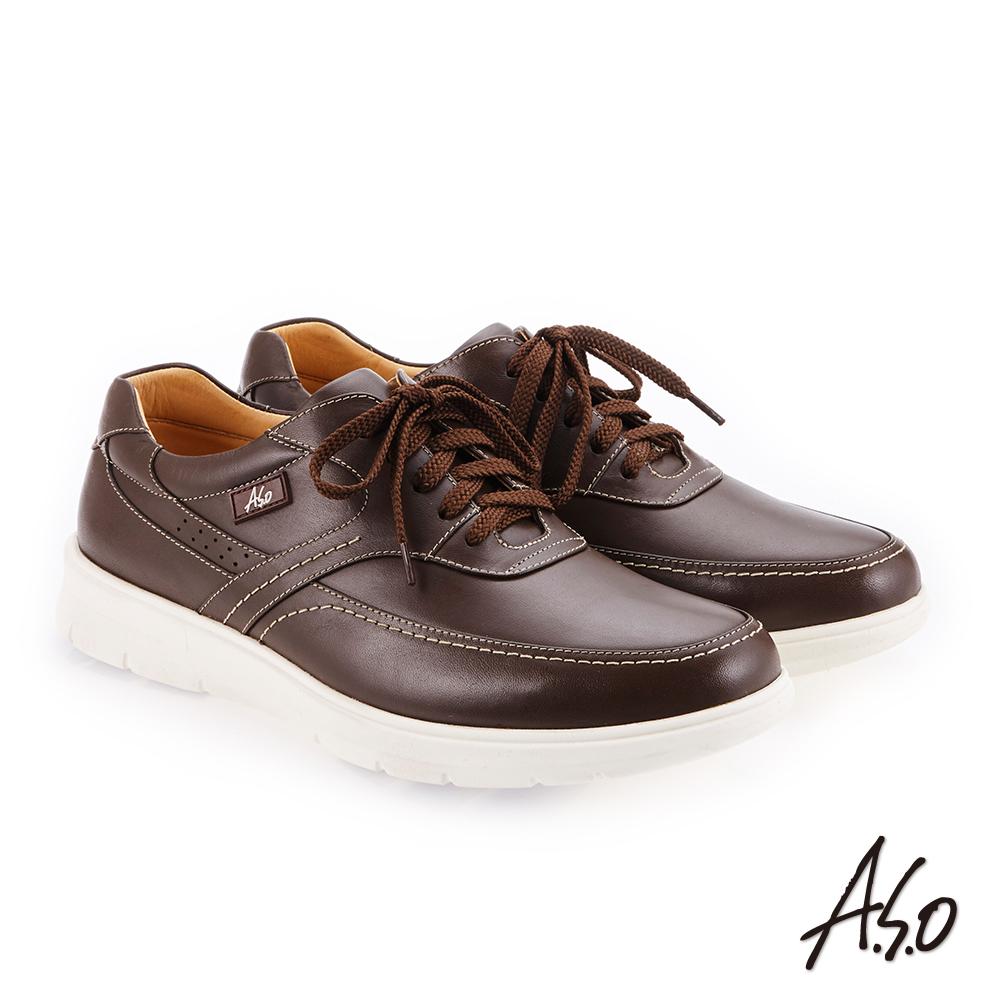 A.S.O 超能耐二代 牛皮綁帶機能休閒鞋 咖啡