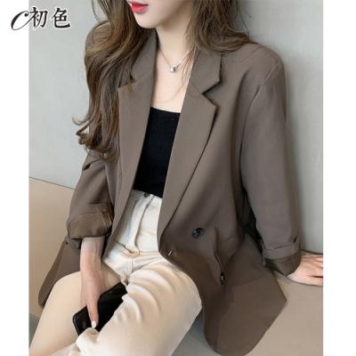 初色  俐落韓版西裝外套-共2色-(M-XL可選)