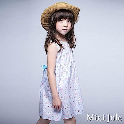 Mini Jule 洋裝 滿版玫瑰綁帶無袖洋裝(藍)