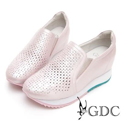 GDC-基本簡約質感氣質真皮沖孔洞洞素面內增高休閒鞋-粉色