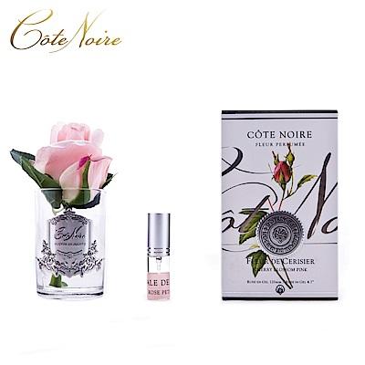 法國 CoteNoire 蔻特蘭 小朵粉紅玫瑰香氛花透明瓶