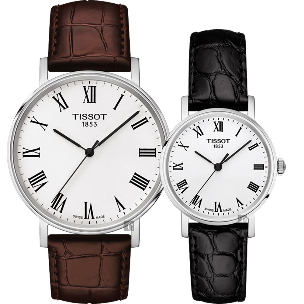 TISSOT 天梭 Everytime 羅馬經典對錶-咖啡+黑/38+30mm