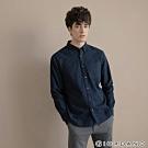 GIORDANO 男裝法蘭絨溫暖磨毛長袖襯衫-03 標誌海軍藍/條紋