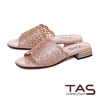 TAS 透膚感水鑽雕花涼拖鞋–甜美粉